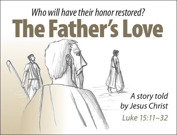 The Father's Love Gospel Booklet in the language of honor and shame, page 1
