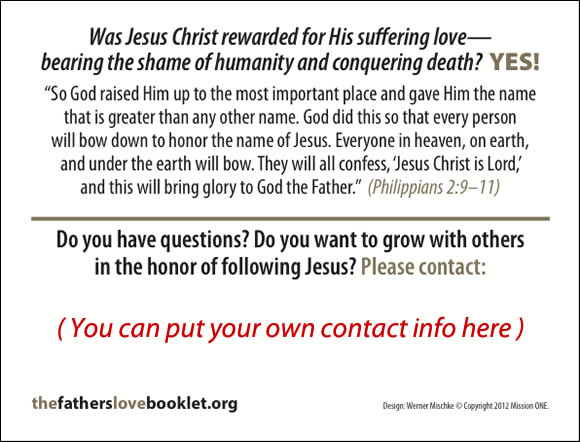 The Father's Love Gospel Booklet in the language of honor and shame, p20